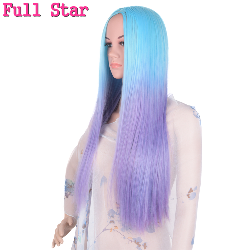 Full Star Blue Ombre Purple Wigs High Temperature Fiber 20 Inch 280g Straight Full Head Black Wigs for Women Long Synthetic Wig