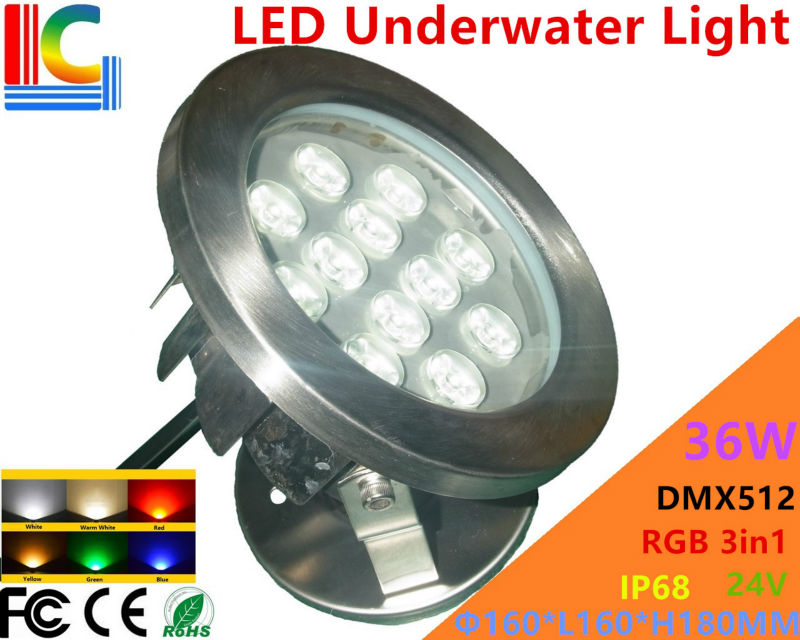 Led Lamps Led Underwater Lights Radient Dmx512 3 Channel 36w Rgb 3in1 Led Underwater Light 24v Underwater Floodlight Ip68 Stainless Steel Waterproof Pond Lamp 8pcs/lot