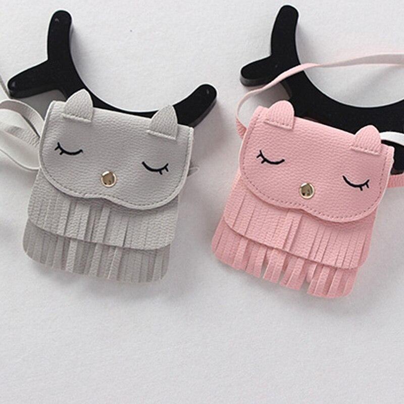Lindo niños niñas borla pequeña cat hombro messenger bag mini monederos de la pu