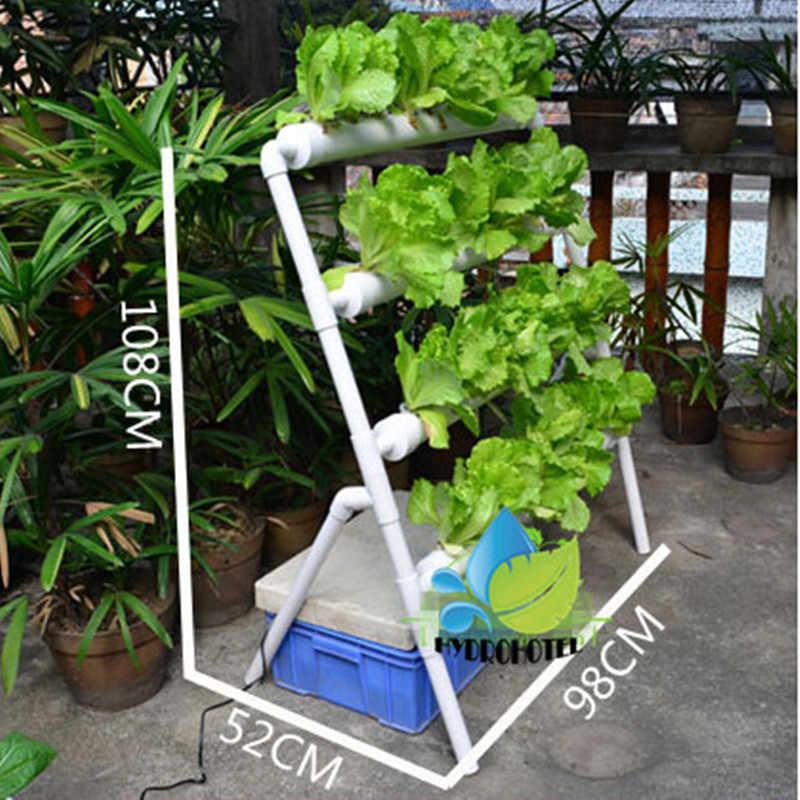 ... NFT hydroponics grow system PVC tube 36Pcs net pot 4 pipe Include Water pump Timer DIY ...