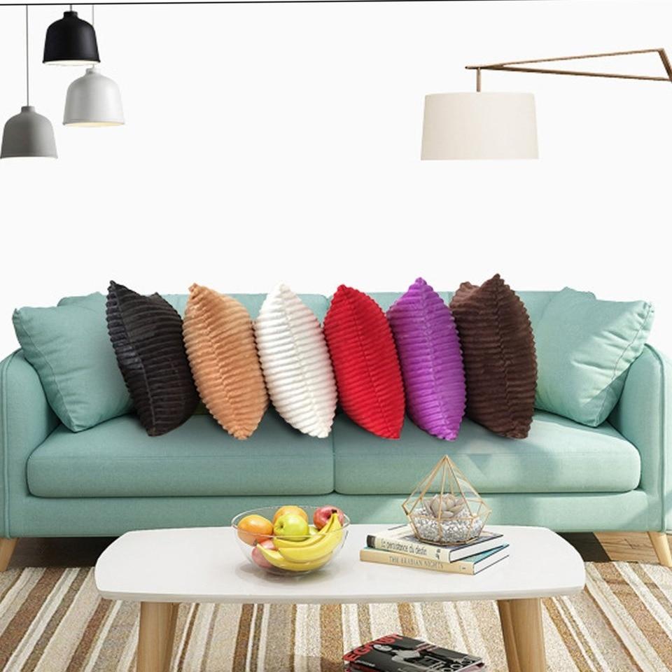 Striped Corduroy Fabric Sofa Cushion