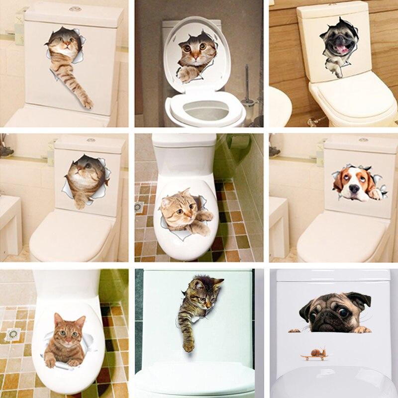 Paperllong Tridimensionnel Mignon Animaux Chat Chien Toilette Autocollants Stickers muraux Trou r/éfrig/érateur Affiches Bricolage d/écor /à la Maison