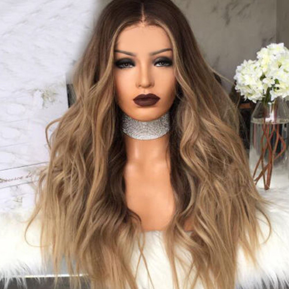 28inch Long Curly Synthetic Lace Wig Brown Ombre Blonde Wig Wave Front Wig For Women Natural Hairline Styling Tool