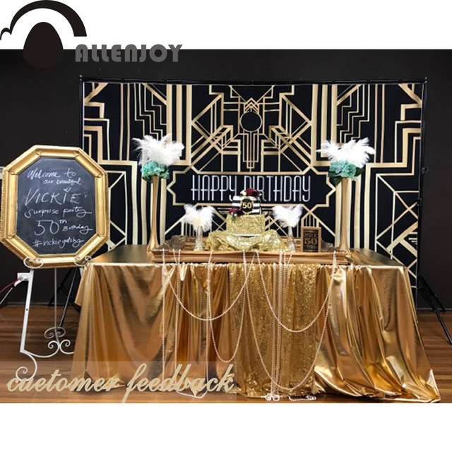 allenjoy gatsby photographie de mariage toile de fond style party decor banni re d 39 anniversaire. Black Bedroom Furniture Sets. Home Design Ideas