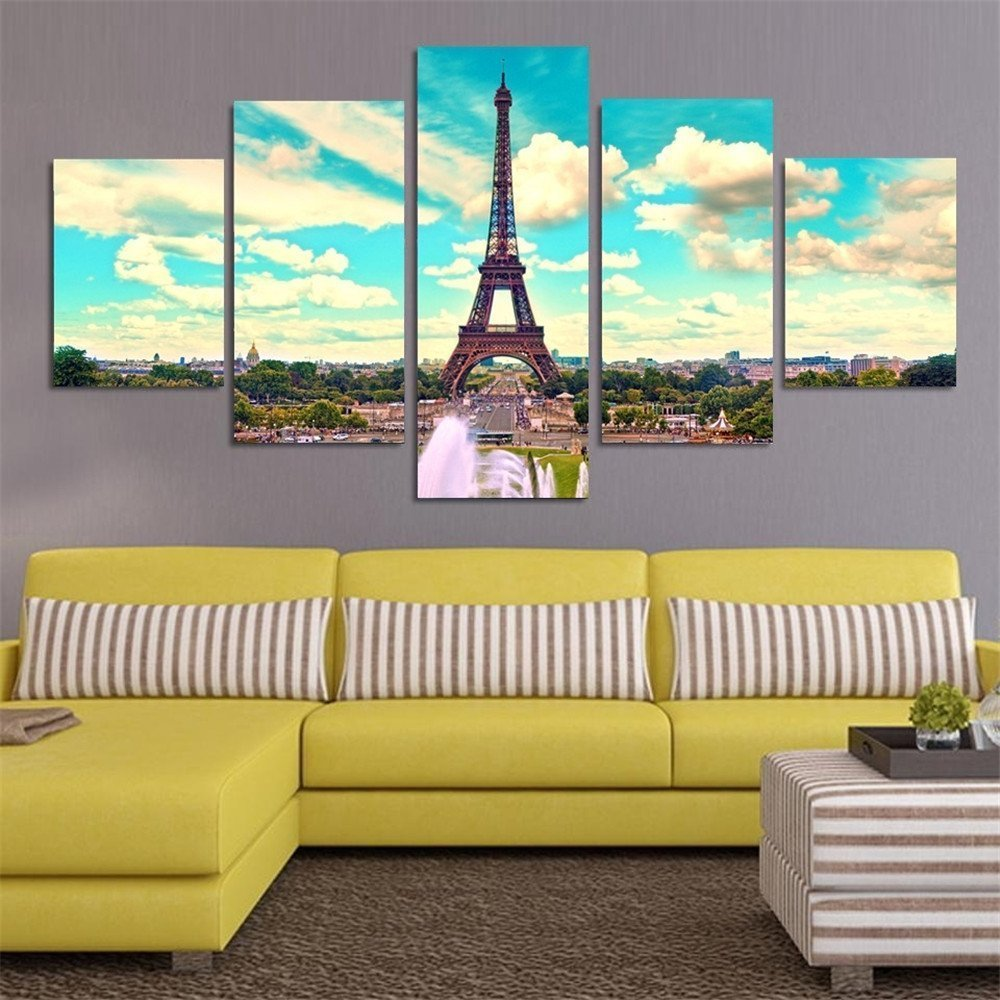 BANMU 5 Piece Eiffel Tower In Paris Landscape Modern Home Wall Decor ...