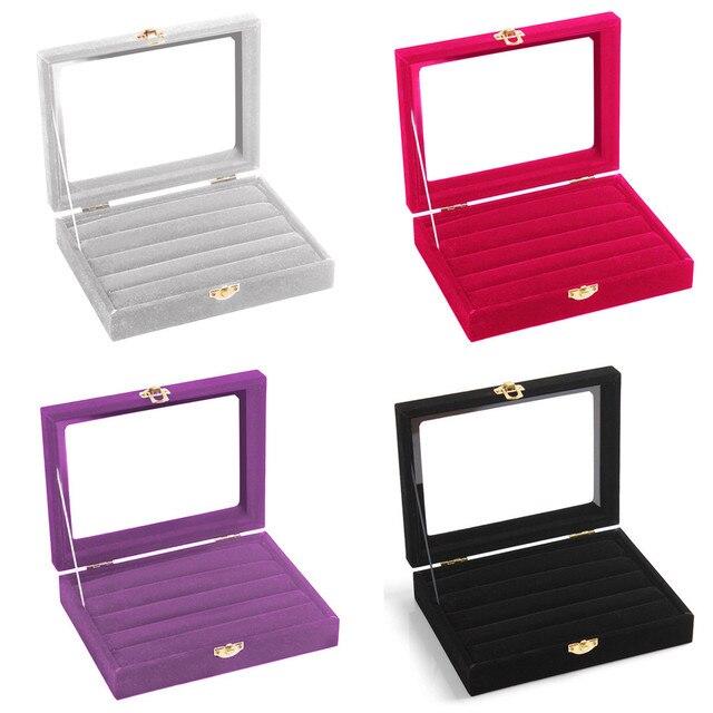 86d7486e7 2018 SUSENSTONE New arrival Velvet Glass Jewelry Ring Display Organizer  Case Tray Holder Earring Storage Box
