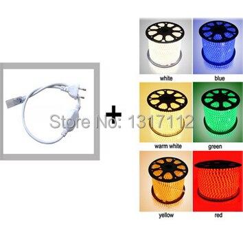 SMD5050 LED Strip AC220V LED Strip Flexible Light 60leds/m Waterproof Led Tape LED Light With Power Plug +2pcs plug for free
