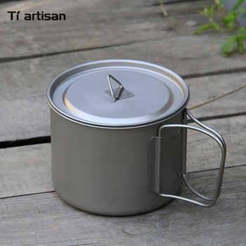 Tiartisan 900ml Pure Titanium Pot Outdoor Camping Ultralight Titanium Bowl with Cover larger Capacity Picnic Cookware