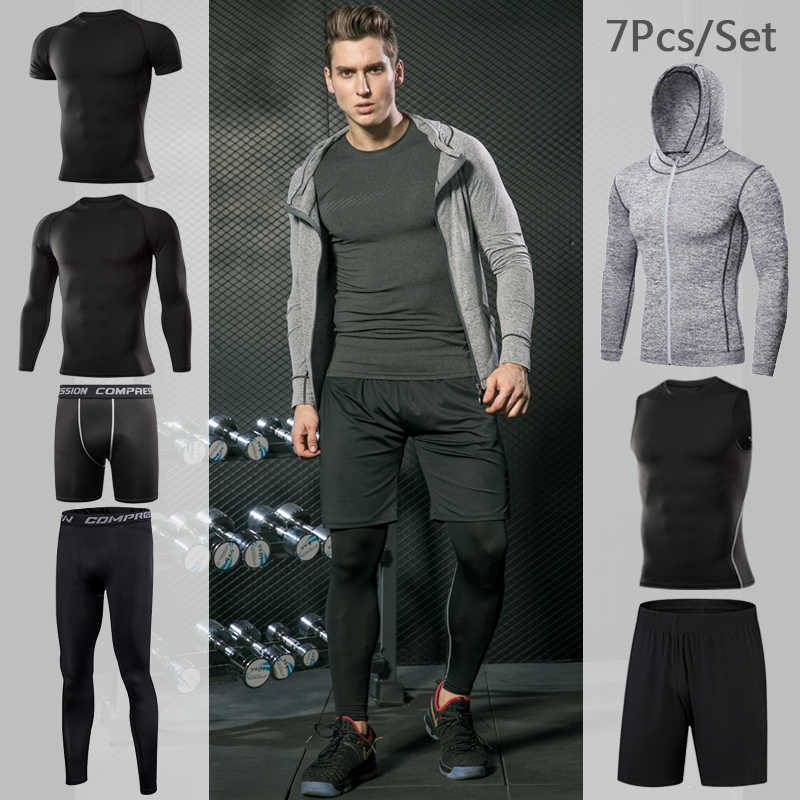 Männer Engen Sportwear Anzug Gym Fitness Jogging Sport Tragen Compression Leggings Training Hosen Workout Sport Kleidung Sets