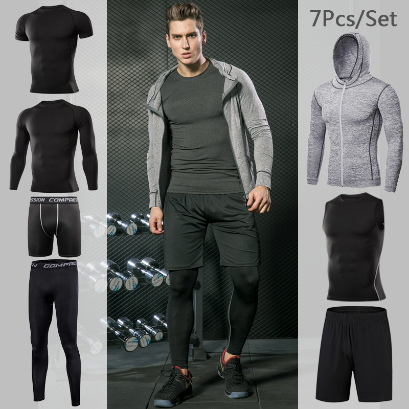 Men's Tight Sportwear Suit GYM Running Fitness Jogging Sport Wear Compression Leggings Training Pants Workout Sport Clothes Sets