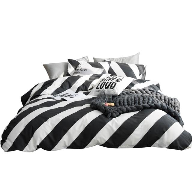 2018 Black White Stripes Bedding Set Cotton Twin Queen Size 4Pcs Print Duvet  Cover Flat Sheet
