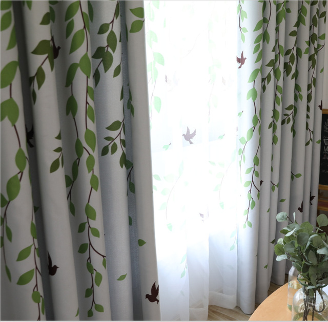 Simple Modern Curtains For Living Room Bedroom Fresh Green Garden Finished Blackout Study