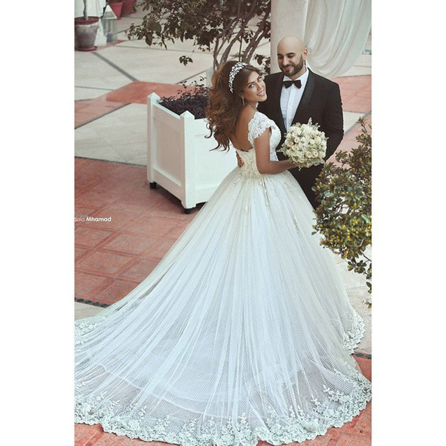 Beautiful Lace Wedding Dresses With Cap Sleeves Said Mhamad Bridal