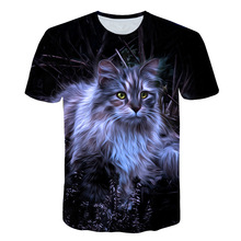 цена Cat T Shirt Men Animal Tshirt Sex Funny T Shirts Slim 3D Print T-shirt Hip Hop Tee Cool Mens Clothing 2019 New Summer Tops в интернет-магазинах