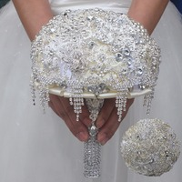 Full Crystal Brooch Diamond Wedding Bouquet Durable Heavy Diamond Super Shiny Drop Wedding Bridal Bouquet W099M