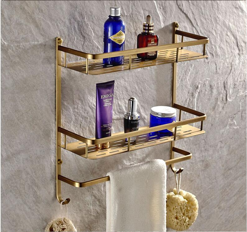 wholesale and retail Wall Mounted Antique Brass Bathroom Corner Shelf Bathroom Shampoo Shelf Bath Shower Shelf Soap Holder