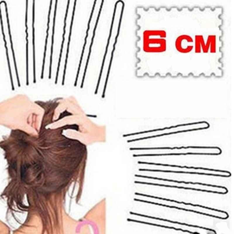 50 Uds 6CM horquilla ondulada en forma de U Clip de agarre de salón horquillas negro dropshiping