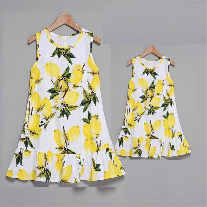 Mother And Daughter Dresses Family Look Sleeveless Lemon Mommy And Me Clothes Mom Mum And Baby Girls Matching Dress Summe C0477