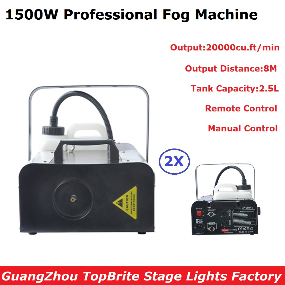 2Pack 1500W Professional Smoke Machine Stage DMX Dj Disco Shows Equipments With Remote Control For Concert Laser KTV Nightclubs 6xlot disco dj strong smoke effect double nozzle co2 jet hi power dmx co2 jet machine professional dj equipment for stage show