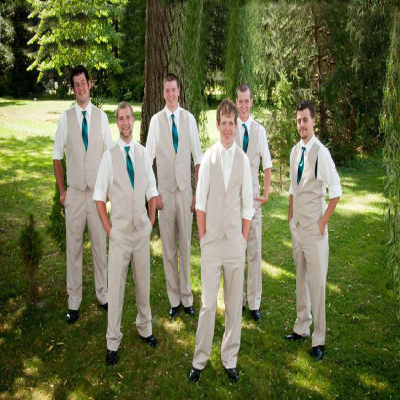 Hot Sale Fashion Groom Mens Suits High Quality The Best Man Wedding Dinner Party Tuxedos For Groomsmen (vest+pant)