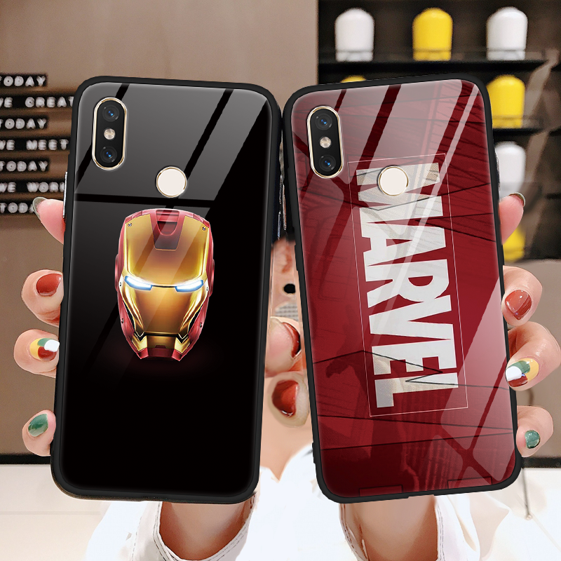 Marvel Venom Tempered glass iron Man TPU Cover For Xiaomi Mi 9 A2 6X Max3 5S 6 8 Lite SE For Redmi 7 5 Plus Note 5 6 pro S2 Case