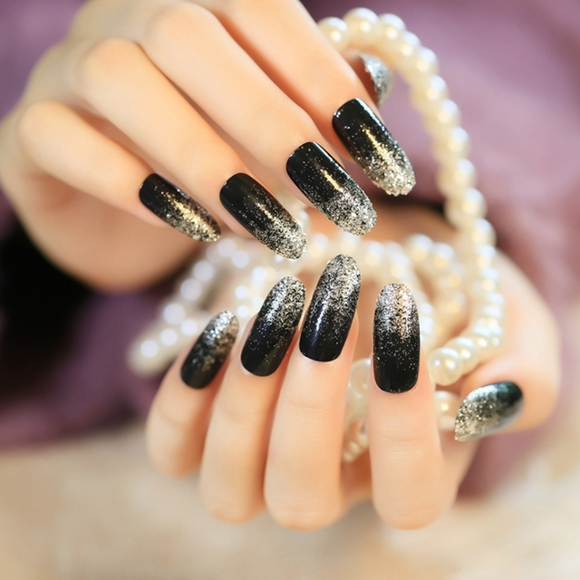 French nails plastic false long nail art tips acrylic fake nail french nails plastic false long nail art tips acrylic fake nail decoration with silver glitter on prinsesfo Image collections