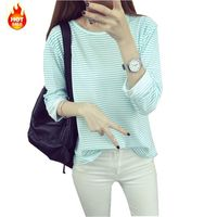 2016 Latest Spring Autumn Fashion Ladies Tops O Neck Pullover Long Sleeve Render T Shirt Stripe