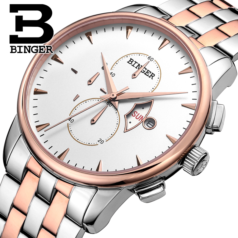 Genuine Switzerland BINGER Brand Mens stainless steel business fashion sapphire watch male leather strap waterproof calendarGenuine Switzerland BINGER Brand Mens stainless steel business fashion sapphire watch male leather strap waterproof calendar