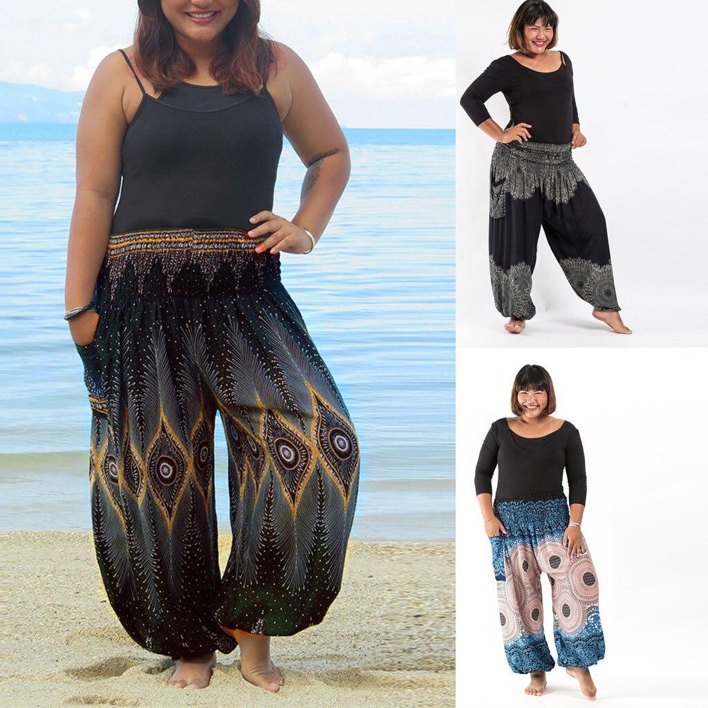 NEW HOT Fashion Plus Size Loose Pant Women Casual Print Hippy Trousers Baggy Boho Pant 8 Color Штаны для йоги Droppship Freeship