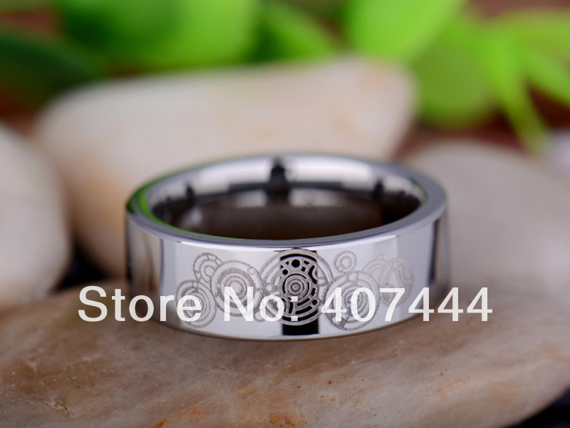 Free Shipping YGK JEWELRY Hot Sales 8mm Silver Pipe Doctor Who Time New Mens Tungsten Carbide Wedding Ring