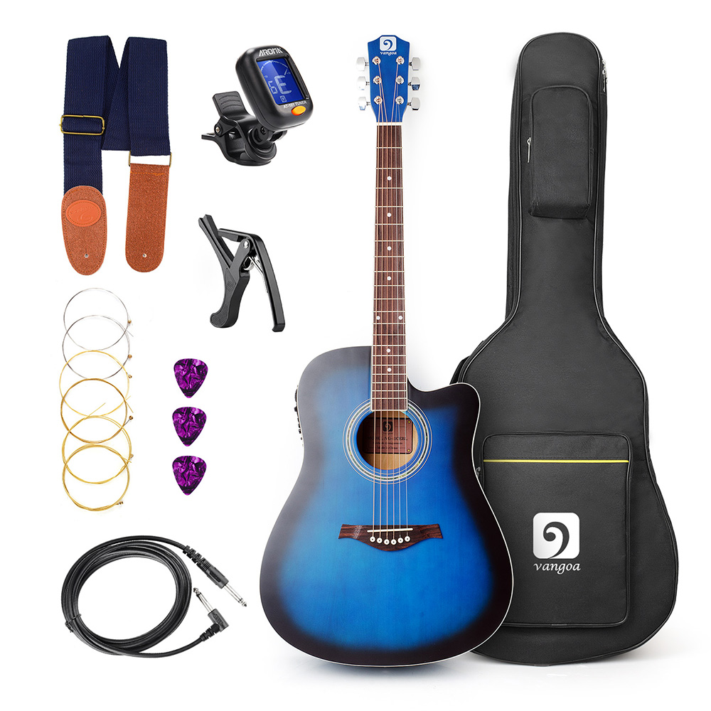 Acoustic Electric Cutaway Guitar 41 Inch Full-Size with Guitar Kit, Guitar Gig Bag, Strap, Tuner, String, Picks, Capo wood guitar adjustment clip brand new ma 12 capo 6 string acoustic guitar capo zinc alloy for acoustic electric guitars 4 colors
