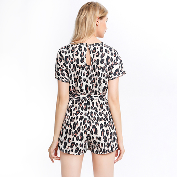 Wide Leg Belted Leopard Romper Women Short Sleeve Round Neck Playsuit Summer Women Print Rompers Overalls Casual Playsuit 5