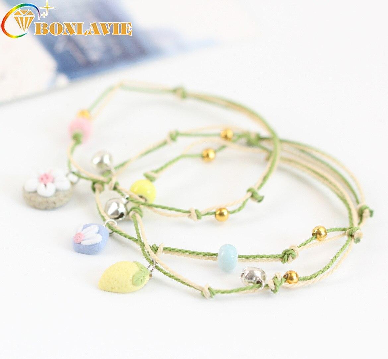 Fashion Handmade Ceramic Beads Charm Statement Bangles Cartoon Bracelet Woman Ceramics Small Bell Lovely Jewelry Accessories