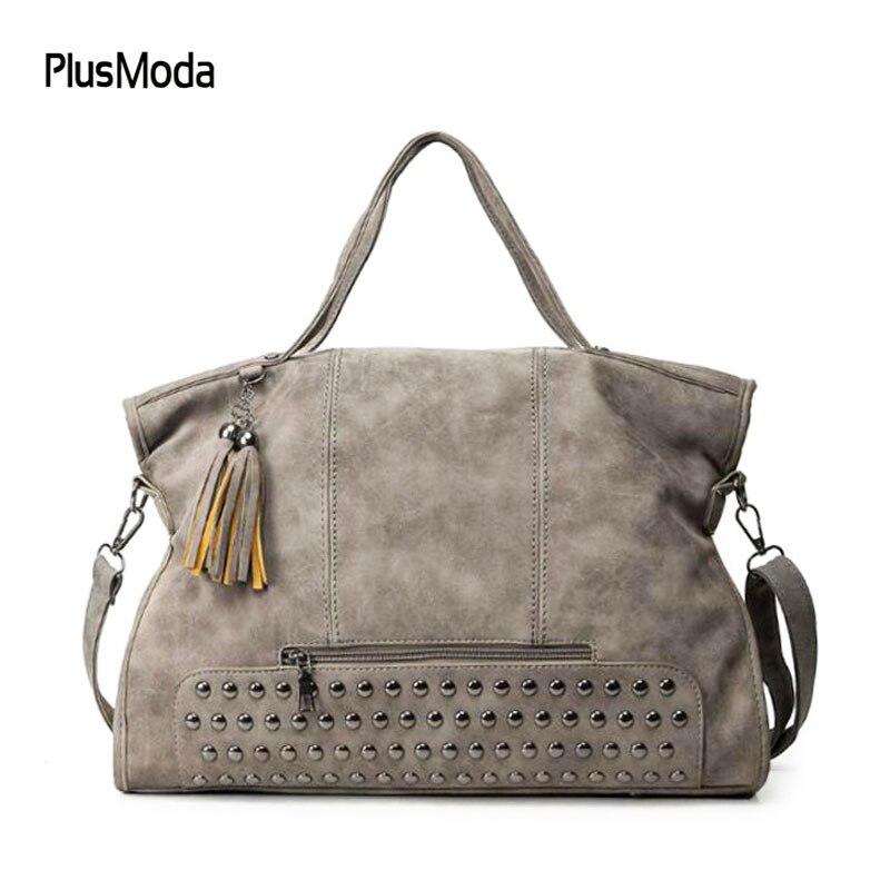 New 2018 Fashion Rivet Women handbag Frosted Women Messenger Bag Large Capacity Women Tote Shoulder bag Ladies Tassel Bag bolsas