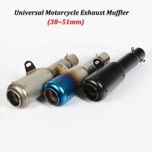 38~51mm Universal Motorcycle Exhaust Muffler Modified  Moto Tail Pipe For R6 YZF-R6 Honda CBF190R Ninja 650 ER6N Z650 ER6F цена и фото