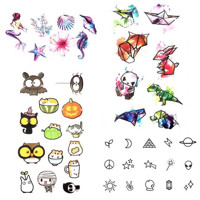 Watercolor Little Bauble Cute Cartoon Temporary Tattoo Panda Animal Zoo Flash Tattoo Kids Lovely Plane Tatoos Children Body Art