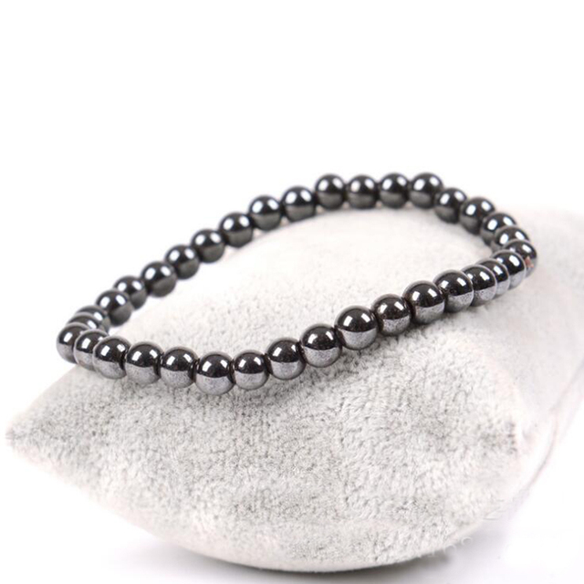 Weight Loss Round Black Nature stone Magnetic Therapy Health Bracelet Trendy Hematite Metal Stretch Bracelet For Men Women 4