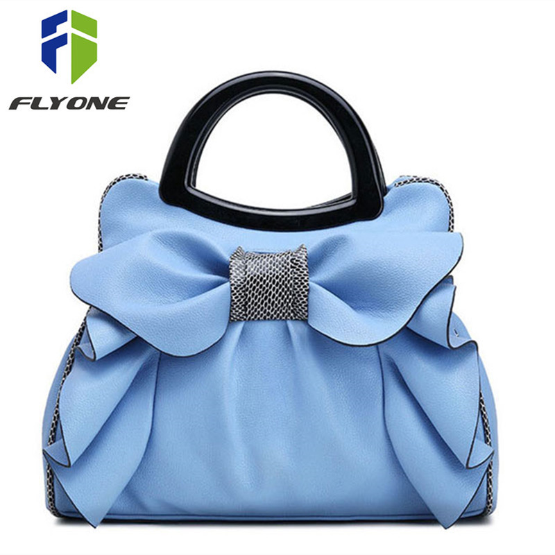 Flyone Borse Fashion Brand Borse Top-Handle Donne Ragazze Borse in pelle Bow Luxury Women Tote Bag Bow Borsa da donna