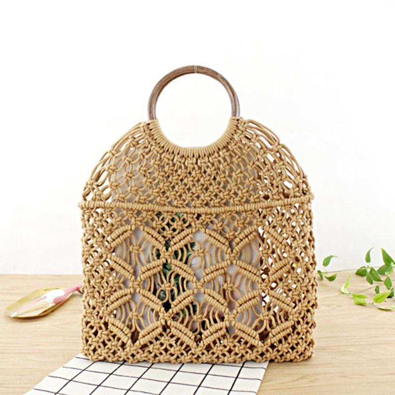 Summer Beach Mini Handbags For Women Vintage Ladies Mesh Woven Hollow Rope Cotton Casual Travel Round Handle Small Tote Bag(Li