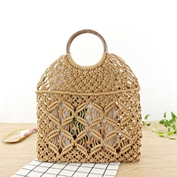 Summer Beach Mini Handbags For Women Vintage Ladies Mesh Woven Hollow Rope Cotton Casual Travel Round Handle Small Tote Bag(Li