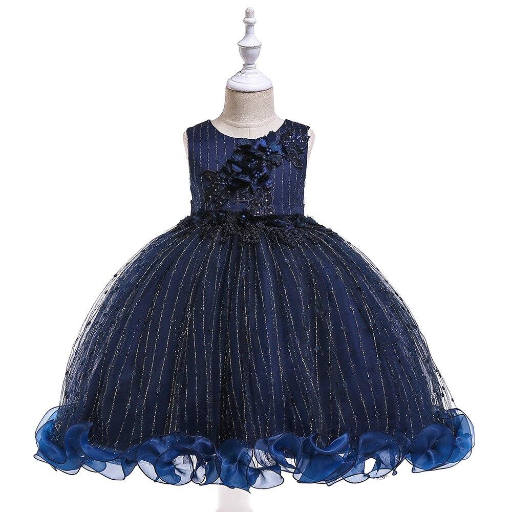 Navy Blue Tulle Tank Sleeveless Ball Gowns   Dress   Princess   Flower     Girls     Dress   Lace First Communion   Dresses   For Little   Girls