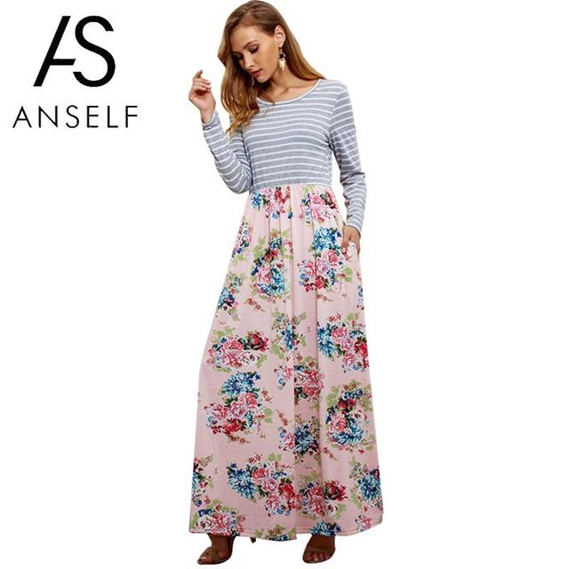 63e0ae763cf Anself Women Autumn Maxi Dress Striped Splice Floral Print T-shirt Dress  Female Long Sleeve Slim Casual Ladies Long Dress 2018