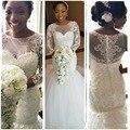 Бисером Тюль Sexy Vintage Кружева Африканских Свадебные Платья С Длинным Рукавом Русалка Свадебные Платья Для Чернокожих Женщин 2016
