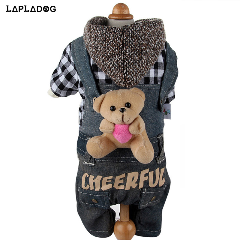 Winter Warm Pet Dog Clothes for Small Dogs Jackets Black Plaid Pet Apparel Moder