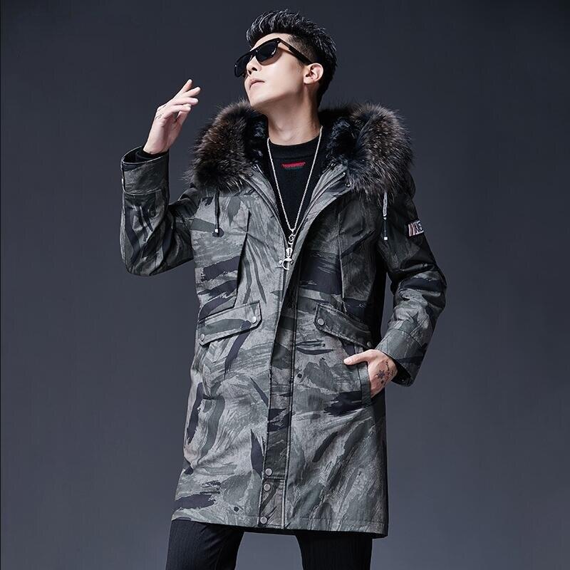 Nouveau Parka d'hiver pour hommes Camouflage chaud longue veste d'hiver doublure de fourrure manteau fourrure de raton laveur col neige montagne laine doublure