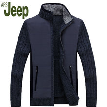 2016 fashion latest Afs Jeep / Battlefield Jeep thick sweater Male XL cardigan coat plus velvet men's high collar jacket 160