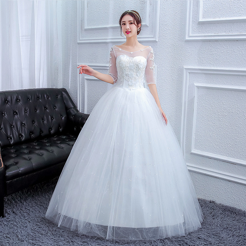 The Embroidery Applique Wedding Gowns Lace Nail Bead Wedding Dress Plus Size Long Tulle Mariage Bridal Wedding Dresses