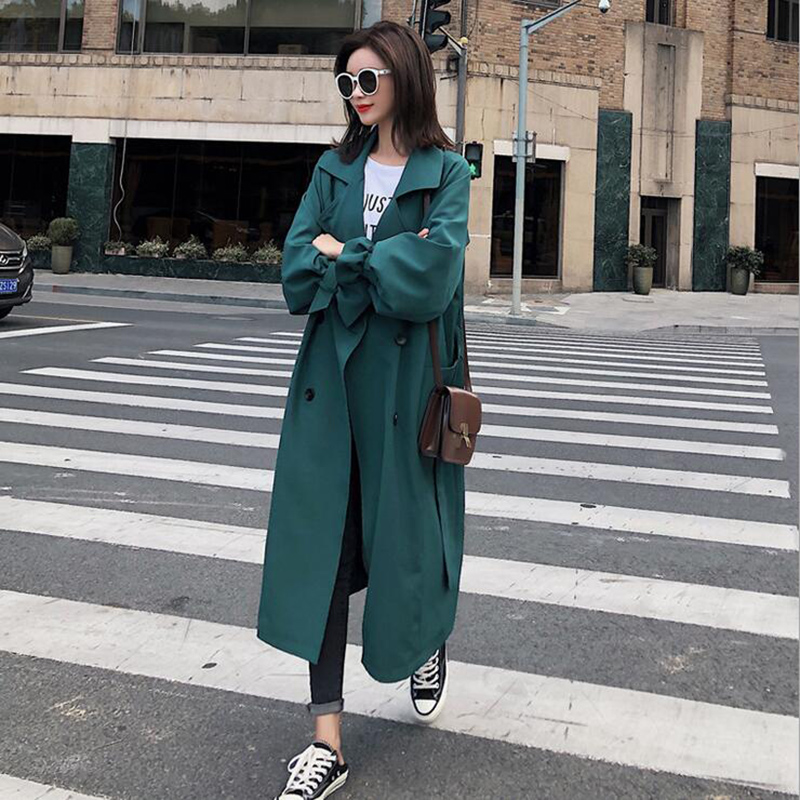 New Fashion 2019 Autumn Casual Double Breasted Simple Classic Long   Trench   Coat Green Chic Female Windbreaker   Trench   Coat