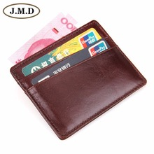 Free Shipping 100% Genuine Cow Leather Mens Card Case Slim Wallet Super Thin Front Pocket Purse ID Card Holder 8101C-1