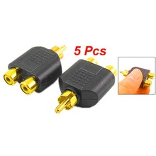 цена на Brand New 5 Pcs RCA AV Audio Y Splitter Plug Adapter 1 Male to 2 Female